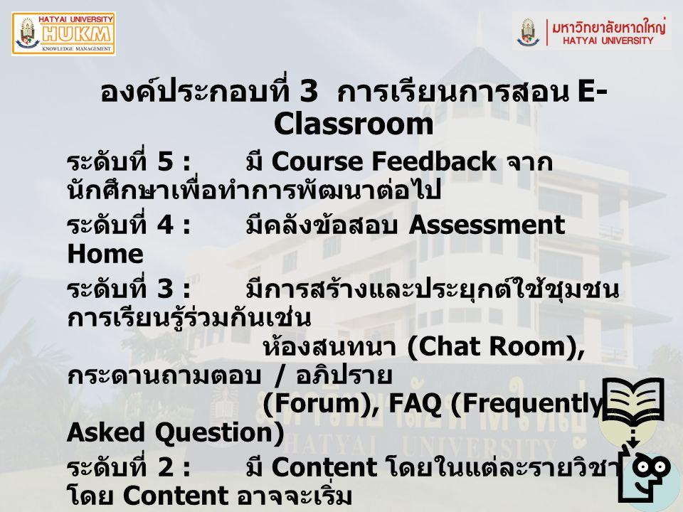 องค์ประกอบที่ 3 การเรียนการสอน E- Classroom ระดับที่ 5 : มี Course Feedback จาก นักศึกษาเพื่อทำการพัฒนาต่อไป ระดับที่ 4 : มีคลังข้อสอบ Assessment Home