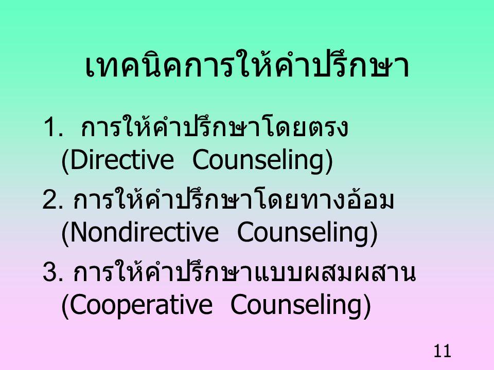 11 เทคนิคการให้คำปรึกษา 1. การให้คำปรึกษาโดยตรง (Directive Counseling) 2. การให้คำปรึกษาโดยทางอ้อม (Nondirective Counseling) 3. การให้คำปรึกษาแบบผสมผส