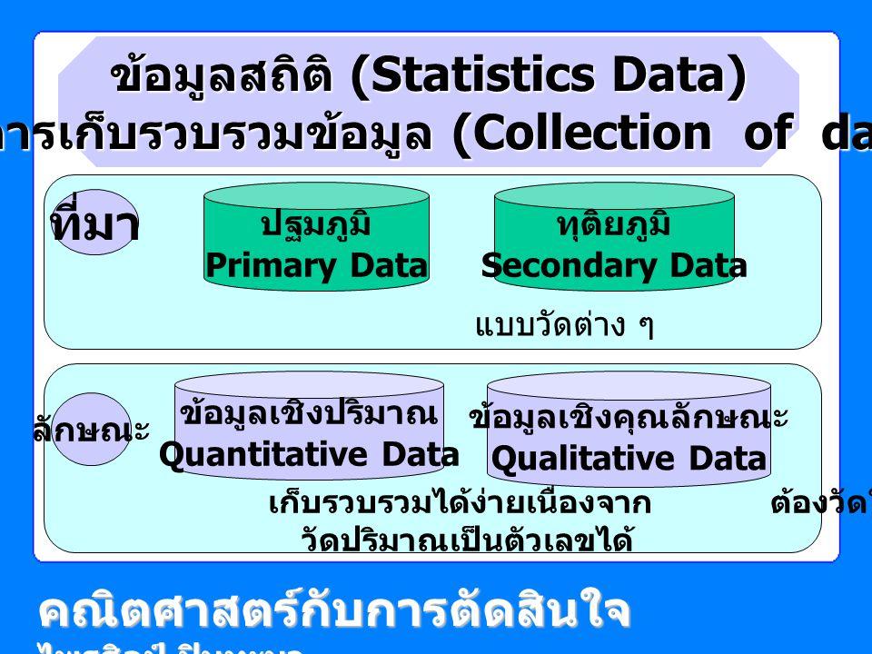 เก็บรวบรวมได้ง่ายเนื่องจาก ต้องวัดให้ได้ว่ามีคุณลักษณะอย่างไร วัดปริมาณเป็นตัวเลขได้ แบบวัดต่าง ๆ รายงานต่าง ๆ ข้อมูลสถิติ (Statistics Data) กับการเก็