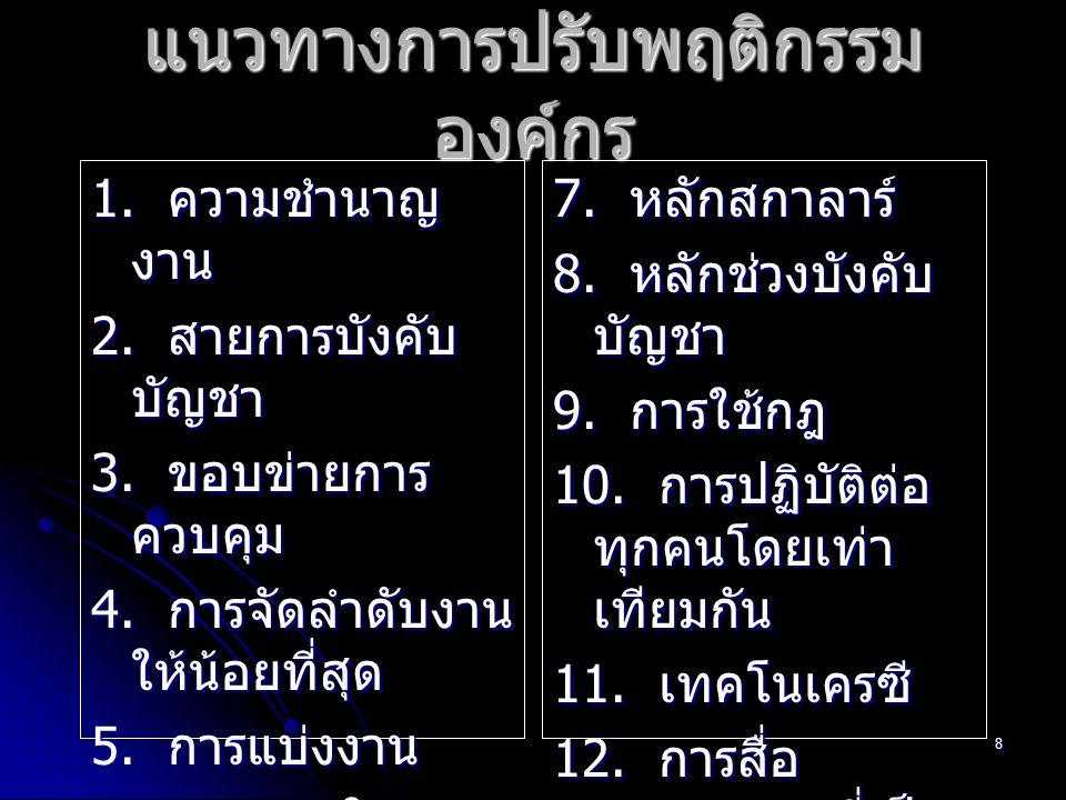 8 แนวทางการปรับพฤติกรรม องค์กร 1. ความชำนาญ งาน 2. สายการบังคับ บัญชา 3. ขอบข่ายการ ควบคุม 4. การจัดลำดับงาน ให้น้อยที่สุด 5. การแบ่งงาน 6. เอกภาพในกา