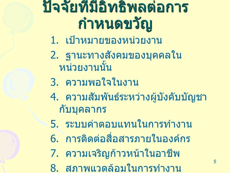 5 ปัจจัยที่มีอิทธิพลต่อการ กำหนดขวัญ 1. เป้าหมายของหน่วยงาน 2. ฐานะทางสังคมของบุคคลใน หน่วยงานนั้น 3. ความพอใจในงาน 4. ความสัมพันธ์ระหว่างผู้บังคับบัญ