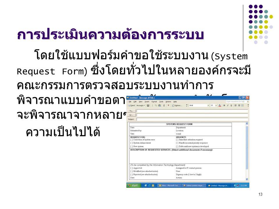13 การประเมินความต้องการระบบ โดยใช้แบบฟอร์มคำขอใช้ระบบงาน (System Request Form) ซึ่งโดยทั่วไปในหลายองค์กรจะมี คณะกรรมการตรวจสอบระบบงานทำการ พิจารณาแบบ