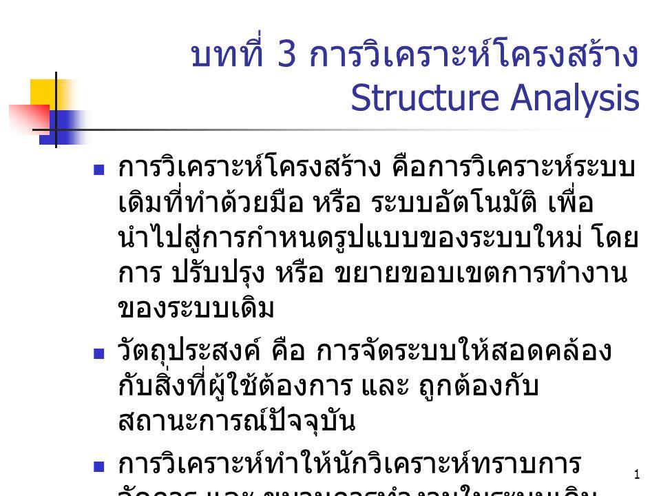 1 บทที่ 3 การวิเคราะห์โครงสร้าง Structure Analysis การวิเคราะห์โครงสร้าง คือการวิเคราะห์ระบบ เดิมที่ทำด้วยมือ หรือ ระบบอัตโนมัติ เพื่อ นำไปสู่การกำหนดรูปแบบของระบบใหม่ โดย การ ปรับปรุง หรือ ขยายขอบเขตการทำงาน ของระบบเดิม วัตถุประสงค์ คือ การจัดระบบให้สอดคล้อง กับสิ่งที่ผู้ใช้ต้องการ และ ถูกต้องกับ สถานะการณ์ปัจจุบัน การวิเคราะห์ทำให้นักวิเคราะห์ทราบการ จัดการ และ ขบวนการทำงานในระบบเดิม และ ช่วยมิให้มองข้ามรายละเอียดที่สำคัญ
