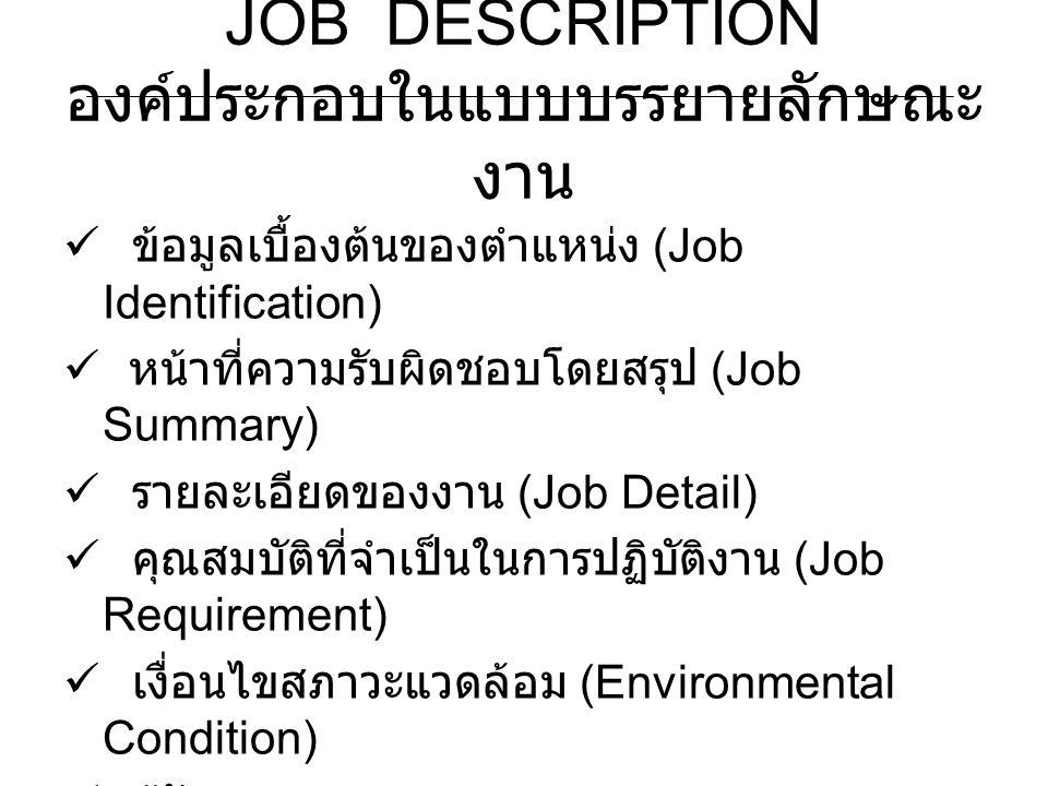 JOB DESCRIPTION องค์ประกอบในแบบบรรยายลักษณะ งาน ข้อมูลเบื้องต้นของตำแหน่ง (Job Identification) หน้าที่ความรับผิดชอบโดยสรุป (Job Summary) รายละเอียดของ