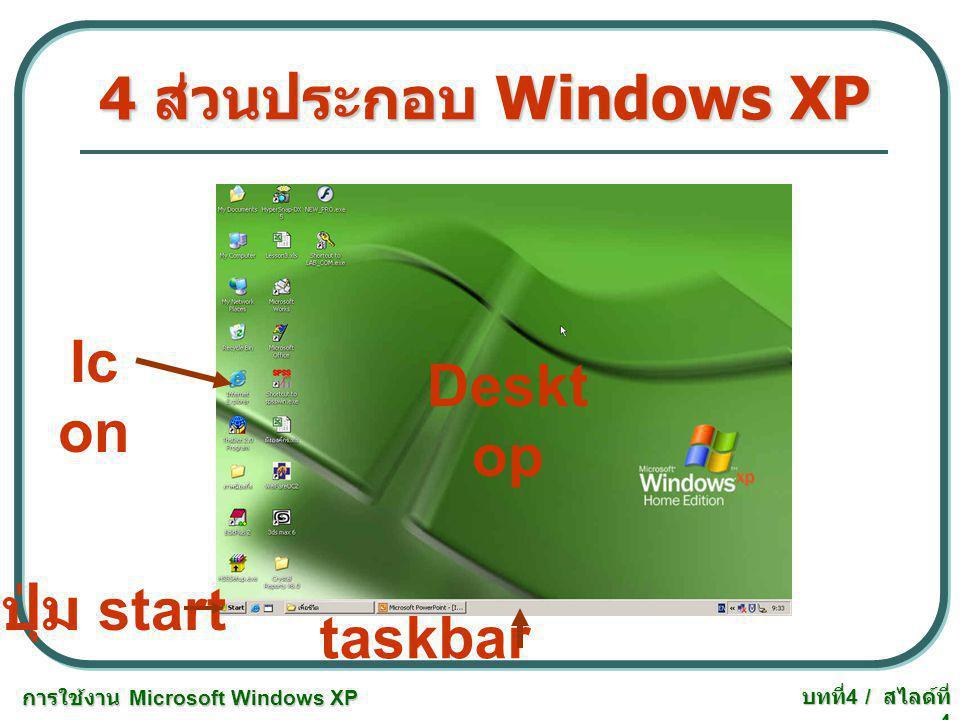 การใช้งาน Microsoft Windows XP บทที่ 4 / สไลด์ที่ 15 การจัดการโฟลเดอร์และไฟล์ 4.3 การก๊อปปี้ไฟล์ หรือโฟลเดอร์ - เลือกไฟล์หรือ โฟลเดอร์ที่ต้องการ คลิก ขวา เลือก copy - เลือกพื้นที่ที่เก็บ คลิก ขวา เลือก paste