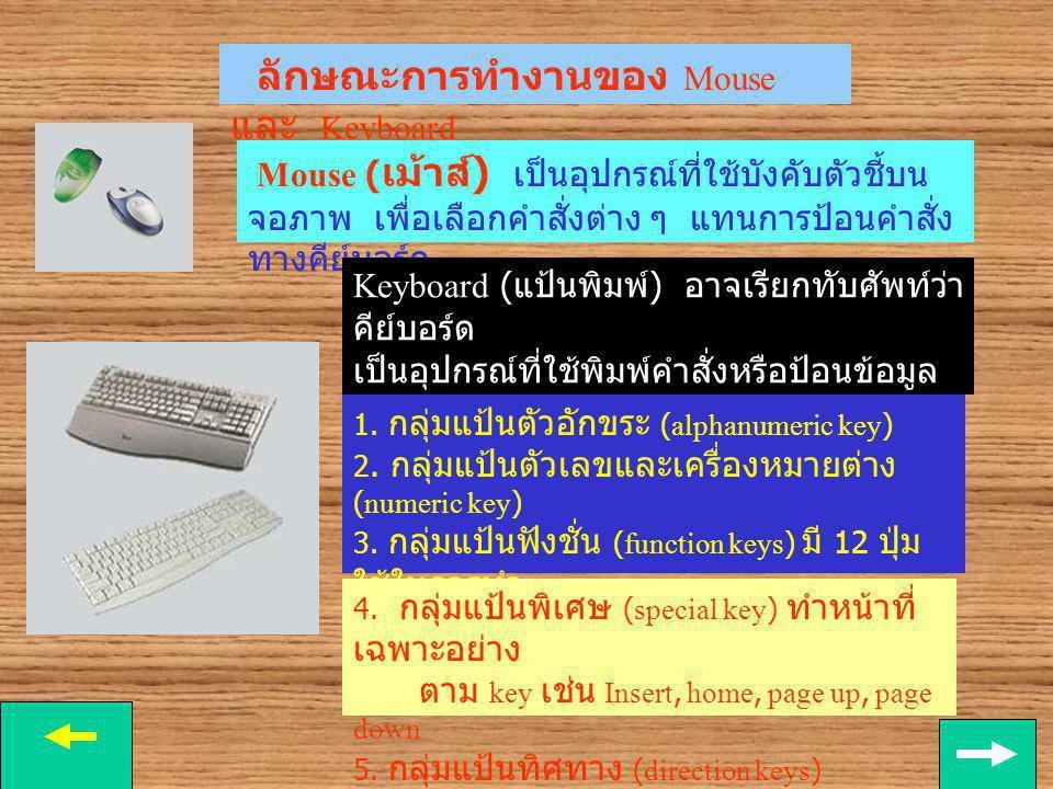 ขั้นการนำเข้า Input ขั้น Input เป็นการนำข้อมูลเข้าไปในเครื่อง ผ่านทางอุปกรณ์นำเข้าคือ เม้าท์ (mouse), คีย์บอร์ด (keyboard) ฯลฯ Mouse keyboard