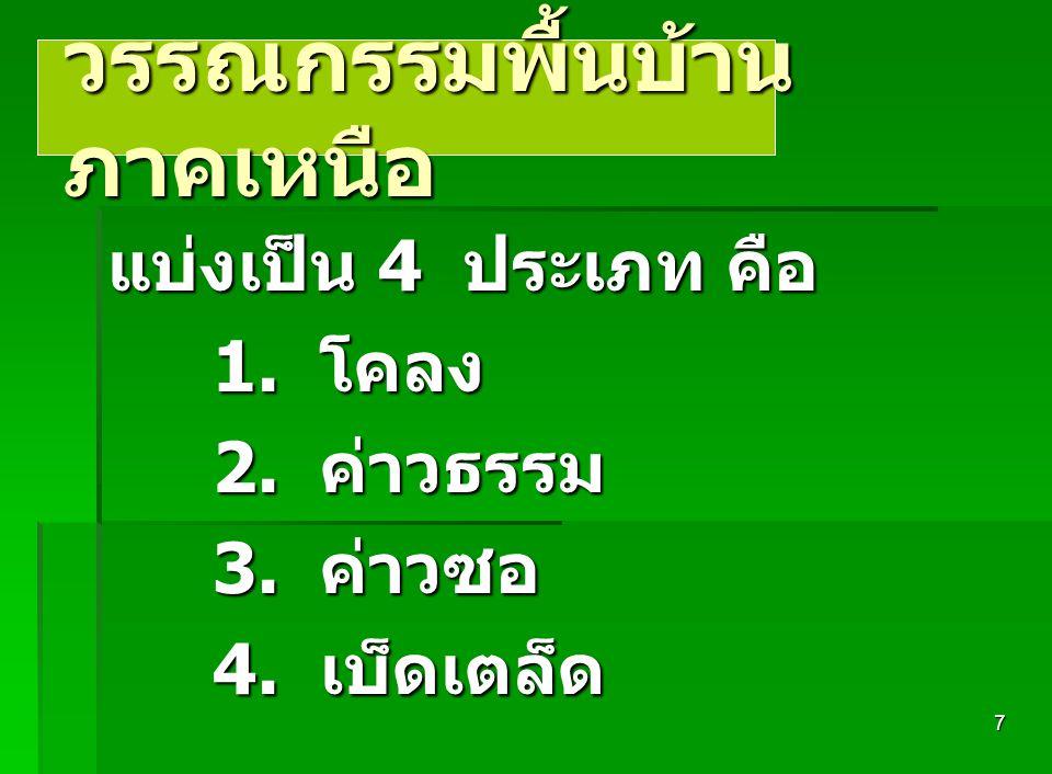6 วรรณกรรมพื้นบ้านภาค กลาง วรรณกรรมพื้นบ้านภาค กลาง แบ่งเป็น 4 ประเภท คือ 1. กลอนสด 1. กลอนสด 2. กลอนสวด 2. กลอนสวด 3. กลอนบทละคร ( หรือบท ละครนอก ) 3