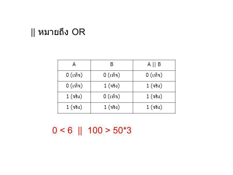 || หมายถึง OR ABA || B 0 (เท็จ) 1 (จริง) 0 (เท็จ)1 (จริง) 0 50*3