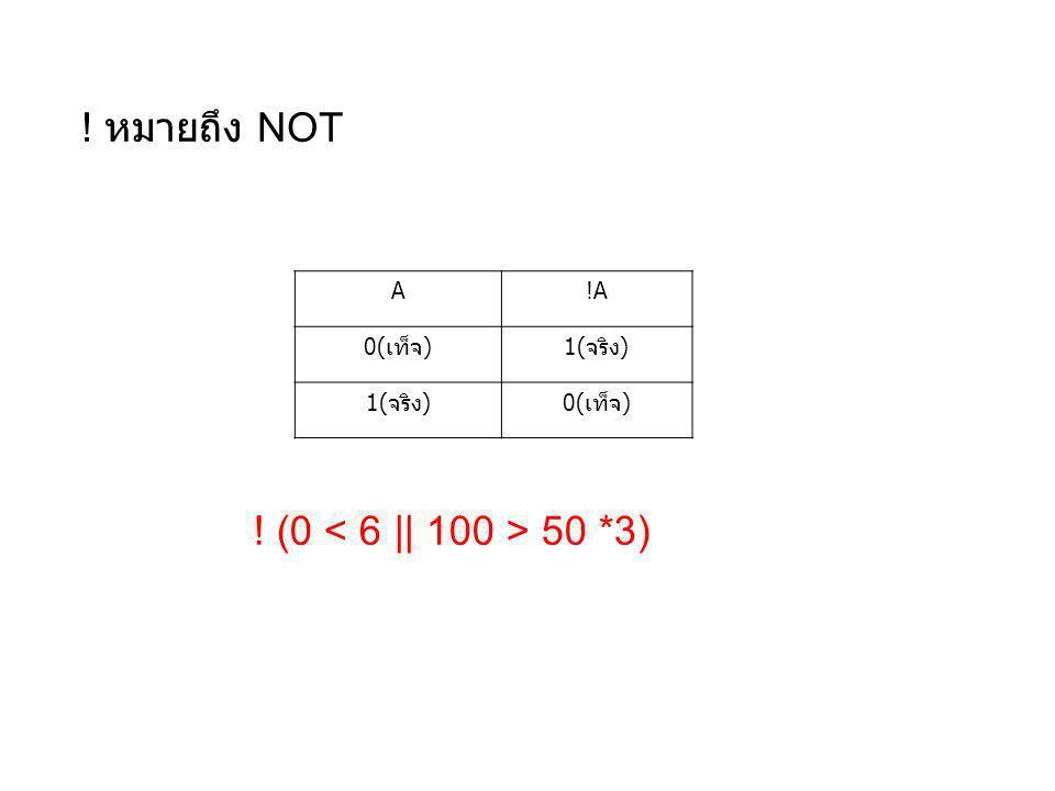 ! หมายถึง NOT A!A 0(เท็จ)1(จริง) 0(เท็จ) ! (0 50 *3)