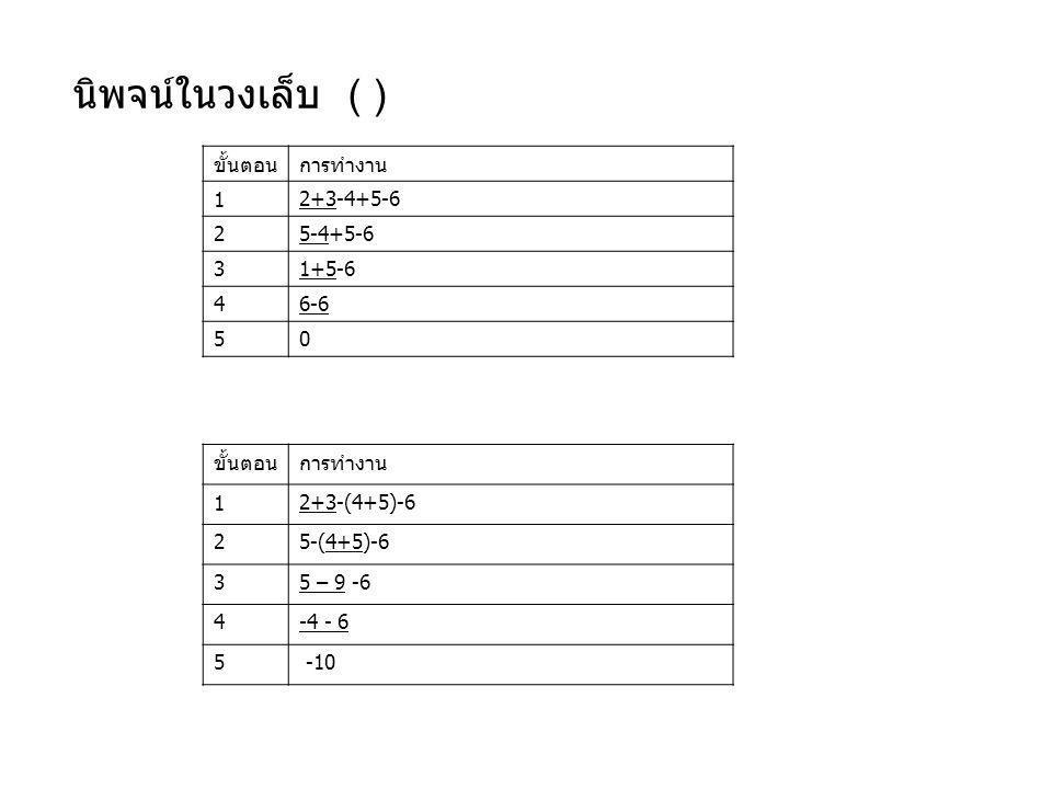 นิพจน์ในวงเล็บ ( ) ขั้นตอนการทำงาน 12+3-4+5-6 25-4+5-6 31+5-6 46-6 50 ขั้นตอนการทำงาน 12+3-(4+5)-6 25-(4+5)-6 35 – 9 -6 4-4 - 6 5 -10