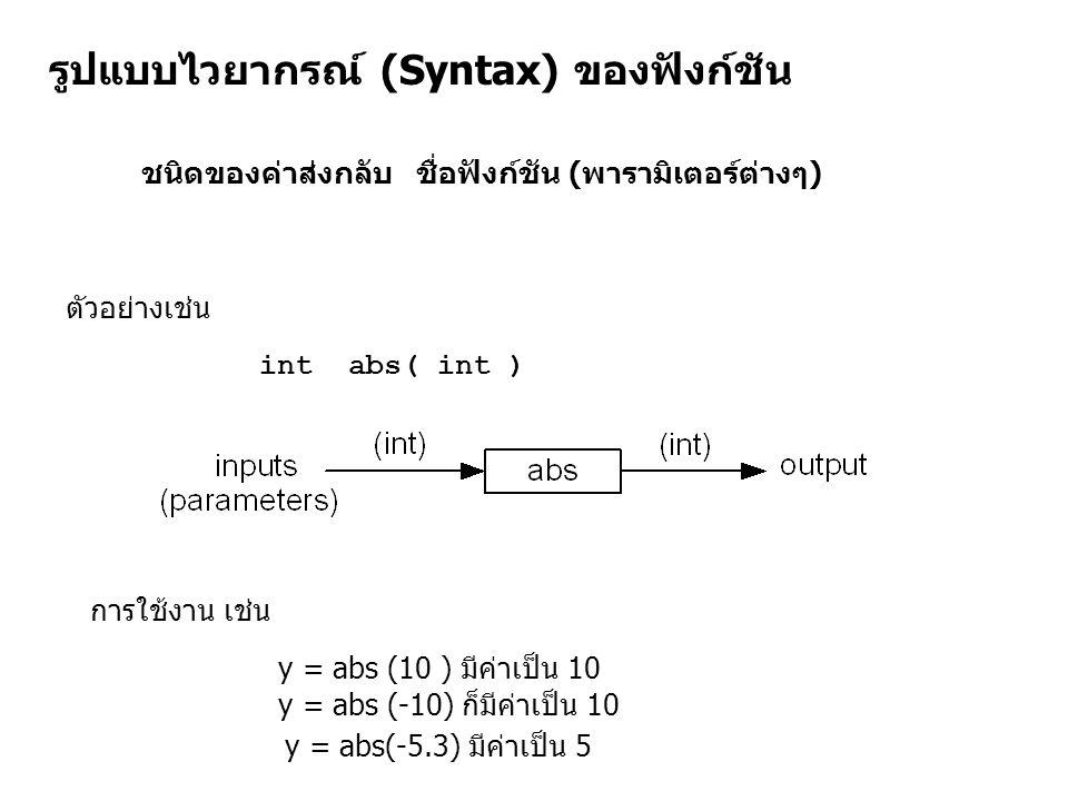 รูปแบบไวยากรณ์ (Syntax) ของฟังก์ชัน ชนิดของค่าส่งกลับ ชื่อฟังก์ชัน (พารามิเตอร์ต่างๆ) ตัวอย่างเช่น int abs( int ) y = abs (10 ) มีค่าเป็น 10 y = abs (-10) ก็มีค่าเป็น 10 y = abs(-5.3) มีค่าเป็น 5 การใช้งาน เช่น