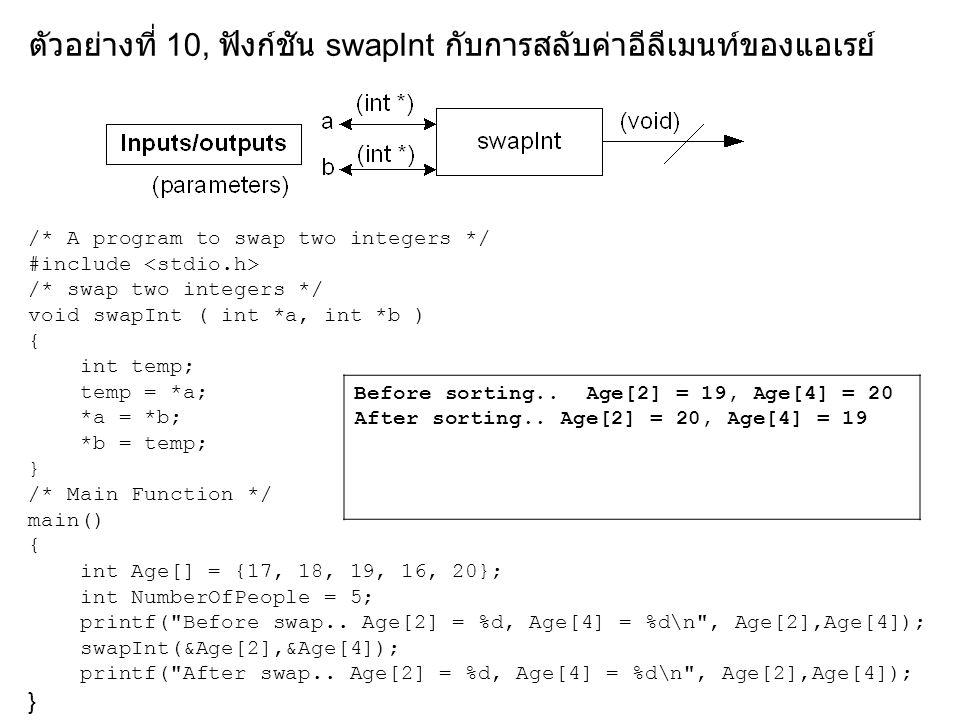 ตัวอย่างที่ 11, ฟังก์ชัน swapInt, Sort และ PrintArray /* Sort data in array */ void Sort (int Data[], int NumberOfData) { int i,j; for (i=0; i< NumberOfData; i++) /*for each element */ for (j=i+1; j< NumberOfData; j++) /*visit each later element */ if (Data[j] < Data[i]) /*if an element is smaller */ swapInt(&Data[i], &Data[j]); /*swap the elements */ }
