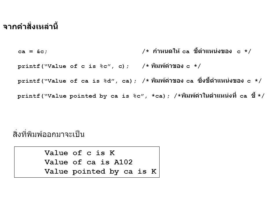 """จากคำสั่งเหล่านี้ ca = &c; /* กำหนดให้ ca ชี้ตำแหน่งของ c */ printf(""""Value of c is %c"""", c); /* พิมพ์ค่าของ c */ printf(""""Value of ca is %d"""", ca);/* พิม"""