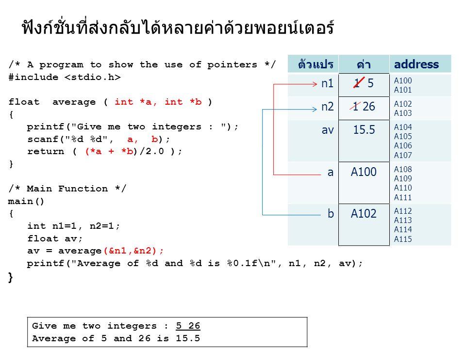 ฟังก์ชั่นที่ส่งกลับได้หลายค่าด้วยพอยน์เตอร์ /* A program to show the use of pointers */ #include float average ( int *a, int *b ) { printf(