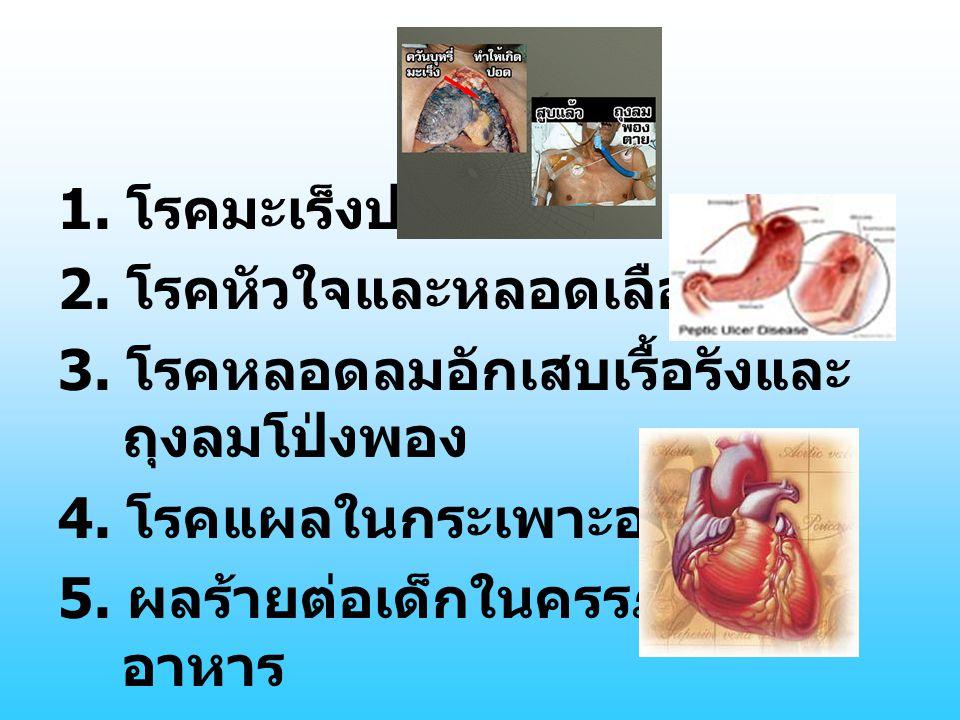 1. โรคมะเร็งปอด 2. โรคหัวใจและหลอดเลือด 3. โรคหลอดลมอักเสบเรื้อรังและ ถุงลมโป่งพอง 4. โรคแผลในกระเพาะอาหาร 5. ผลร้ายต่อเด็กในครรภ์และ อาหาร