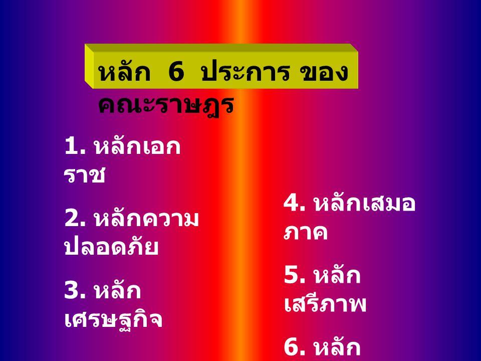 หลัก 6 ประการ ของ คณะราษฎร 1. หลักเอก ราช 2. หลักความ ปลอดภัย 3. หลัก เศรษฐกิจ 4. หลักเสมอ ภาค 5. หลัก เสรีภาพ 6. หลัก การศึกษา