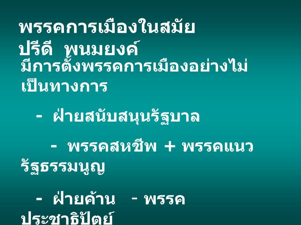8 พฤศจิกายน 2490 สิ้นสุดอิทธิพลทางการเมือง ของคณะราษฎร เริ่มเข้าสู่ยุคคณะทหารเริ่ม เข้ามามีอิทธิพลต่อการ เมืองไทยสืบต่อมาเป็น เวลานาน มีการรัฐประหารยึดอำนาจ รัฐบาลโดยคณะทหารรวม 9 ครั้ง ( ครั้งสุดท้าย 19 ก.