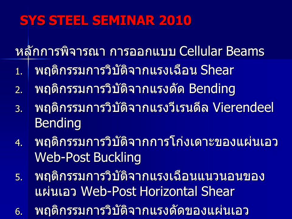 หลักการพิจารณา การออกแบบ Cellular Beams  พฤติกรรมการวิบัติจากแรงเฉือน Shear  พฤติกรรมการวิบัติจากแรงดัด Bending  พฤติกรรมการวิบัติจากแรงวีเรนดีล