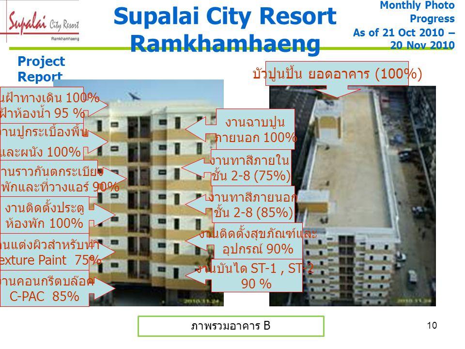 10 Supalai City Resort Ramkhamhaeng Project Report ภาพรวมอาคาร B Monthly Photo Progress As of 21 Oct 2010 – 20 Nov 2010 งานราวกันตกระเบียง ห้องพักและท
