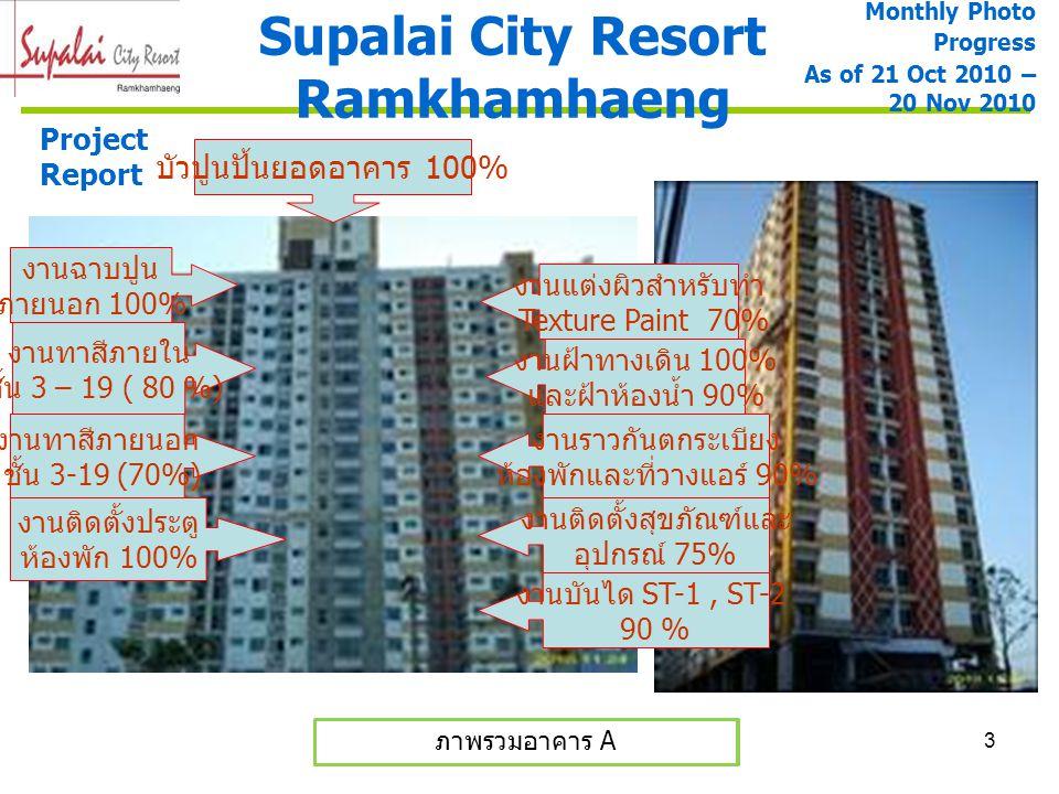 3 Supalai City Resort Ramkhamhaeng ภาพรวมอาคาร A และ B ภาพรวมอาคาร A Monthly Photo Progress As of 21 Oct 2010 – 20 Nov 2010 Project Report งานฉาบปูน ภ
