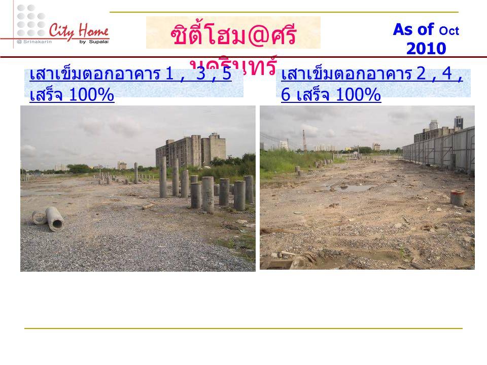 ซิตี้โฮม @ ศรี นครินทร์ เสาเข็มตอกอาคาร 1, 3, 5 เสร็จ 100% เสาเข็มตอกอาคาร 2, 4, 6 เสร็จ 100% As of Oct 2010