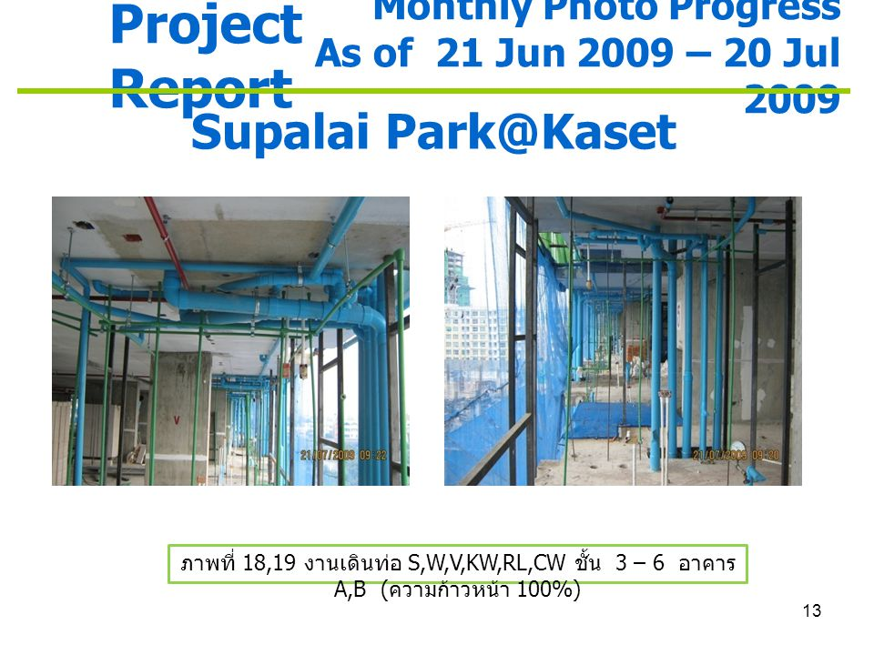 13 Project Report Monthly Photo Progress As of 21 Jun 2009 – 20 Jul 2009 Supalai Park@Kaset ภาพที่ 18,19 งานเดินท่อ S,W,V,KW,RL,CW ชั้น 3 – 6 อาคาร A,