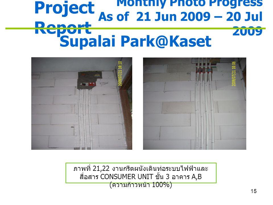 15 Project Report Monthly Photo Progress As of 21 Jun 2009 – 20 Jul 2009 Supalai Park@Kaset ภาพที่ 21,22 งานกรีตผนังเดินท่อระบบไฟฟ้าและ สื่อสาร CONSUM