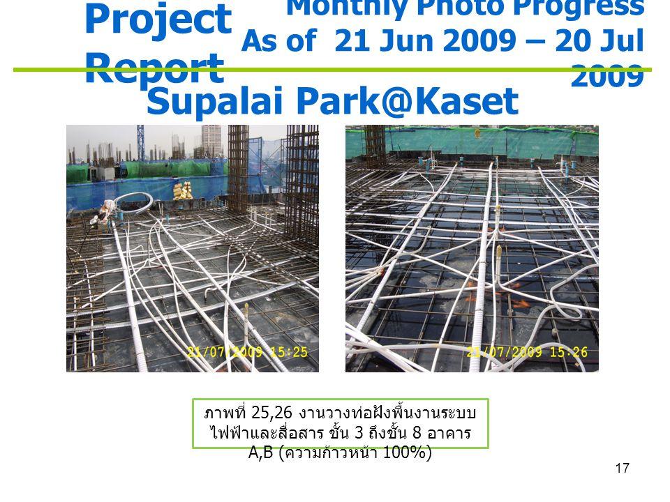 17 Project Report Monthly Photo Progress As of 21 Jun 2009 – 20 Jul 2009 Supalai Park@Kaset ภาพที่ 25,26 งานวางท่อฝังพื้นงานระบบ ไฟฟ้าและสื่อสาร ชั้น