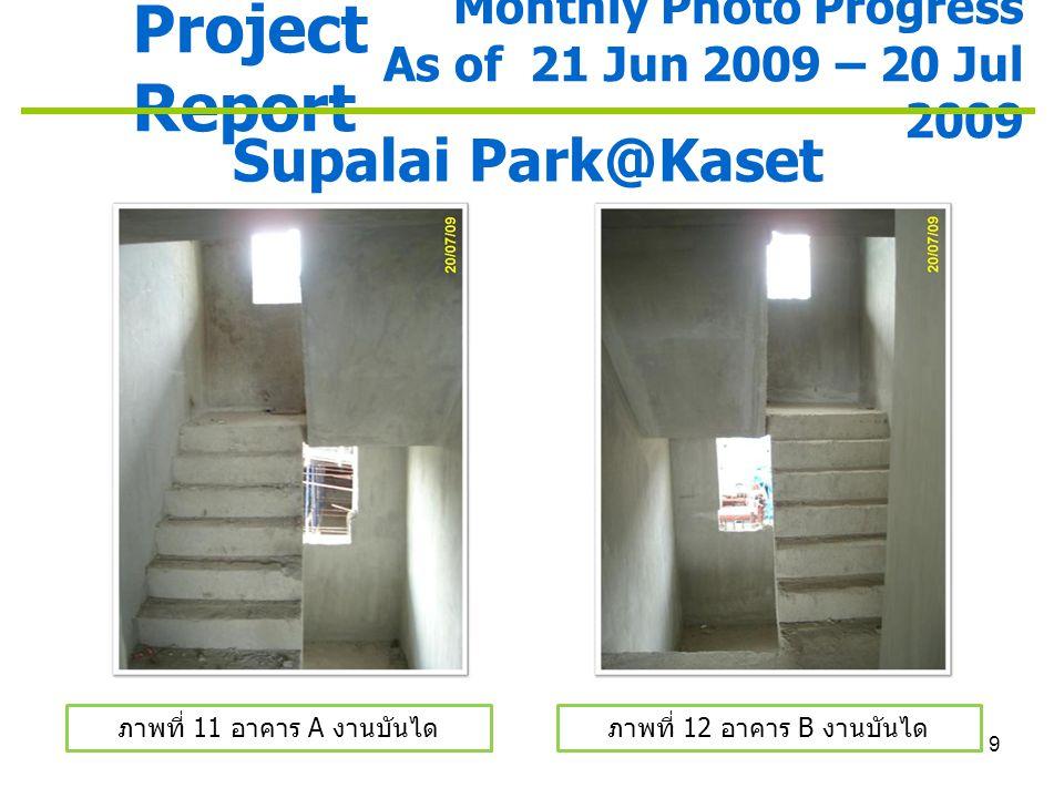 10 Project Report Monthly Photo Progress As of 21 Jun 2009 – 20 Jul 2009 Supalai Park@Kaset ภาพที่ 13 อาคาร A ระบบป้องกันฝุ่น ละออง ภาพที่ 14 อาคาร B ระบบป้องกันฝุ่น ละออง