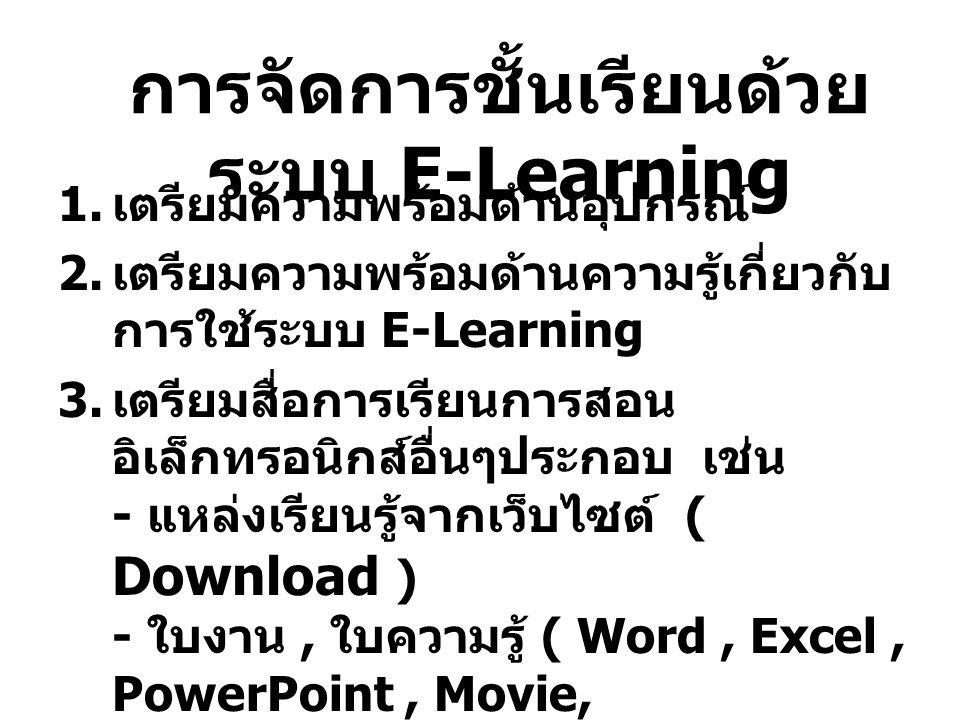 การจัดการชั้นเรียนด้วย ระบบ E-Learning 1. เตรียมความพร้อมด้านอุปกรณ์ 2. เตรียมความพร้อมด้านความรู้เกี่ยวกับ การใช้ระบบ E-Learning 3. เตรียมสื่อการเรีย