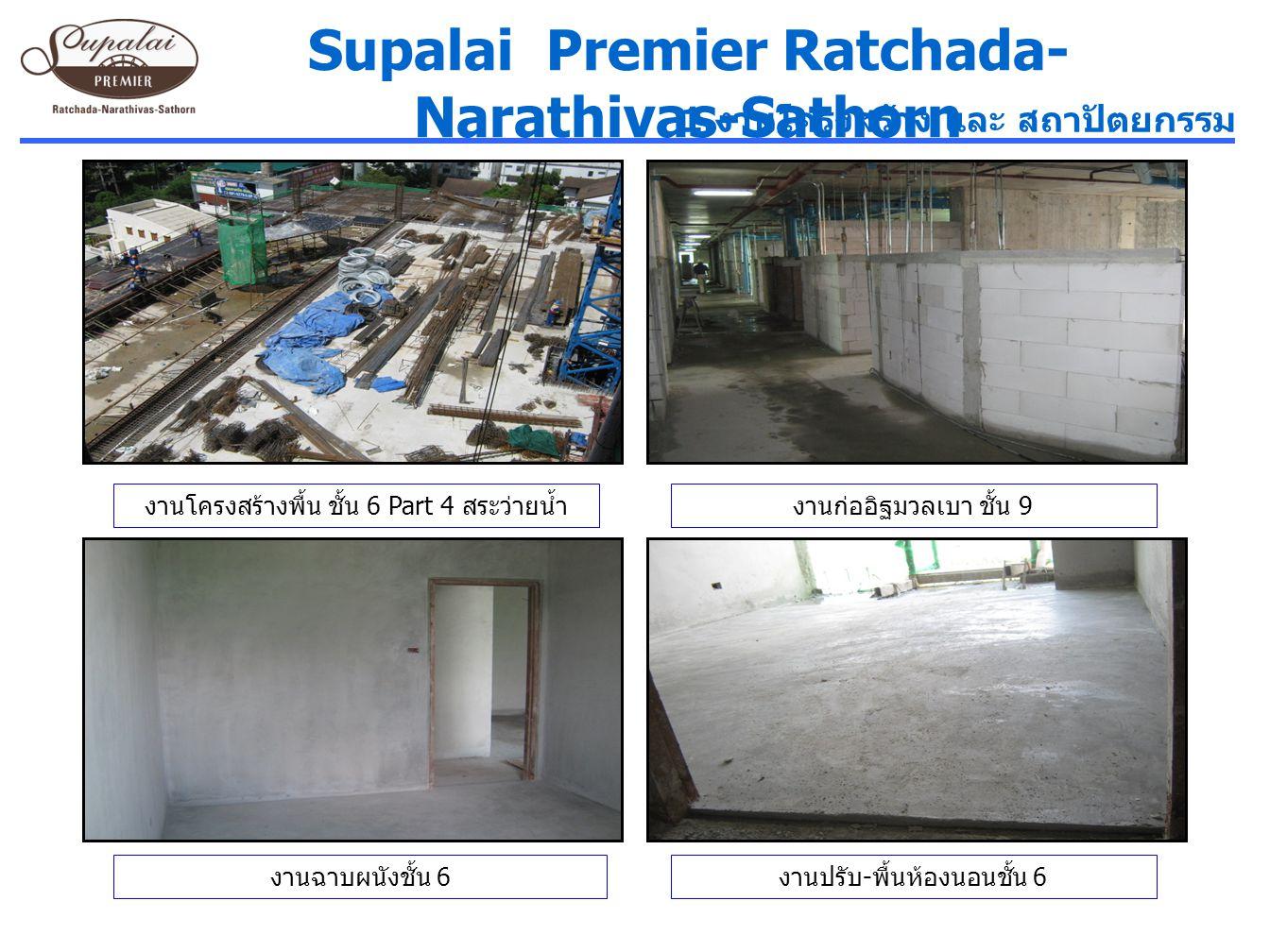 Supalai Premier Ratchada- Narathivas-Sathorn งานโครงสร้างพื้น ชั้น 6 Part 4 สระว่ายน้ำงานก่ออิฐมวลเบา ชั้น 9 1. งานโครงสร้าง และ สถาปัตยกรรม งานฉาบผนั