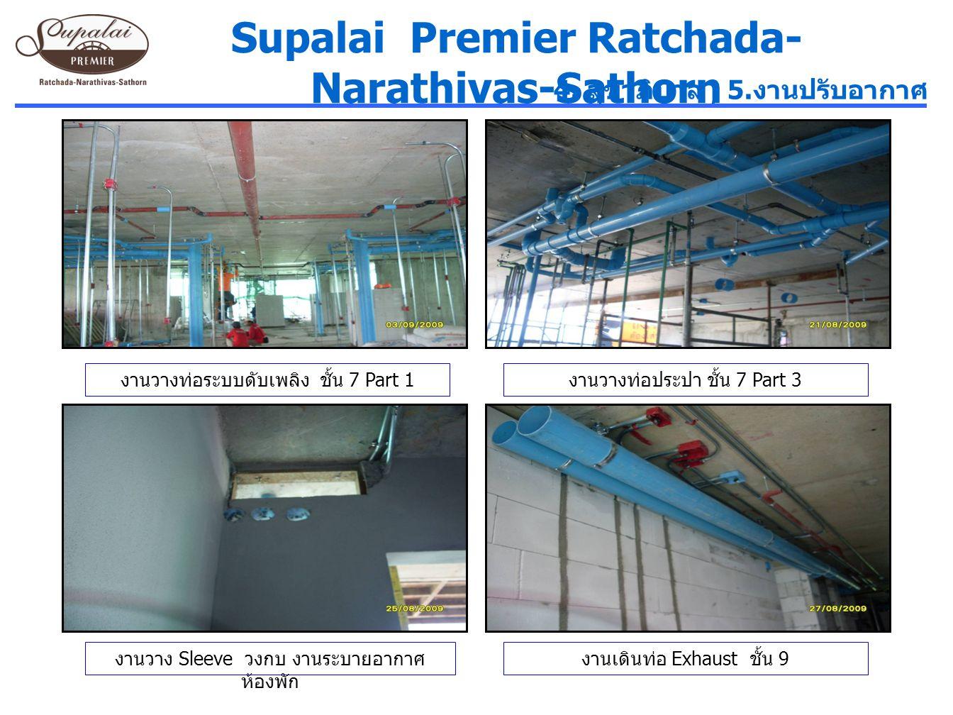 งานวางท่อระบบดับเพลิง ชั้น 7 Part 1 งานวางท่อประปา ชั้น 7 Part 3 Supalai Premier Ratchada- Narathivas-Sathorn 4. สุขาภิบาล, 5. งานปรับอากาศ งานวาง Sle