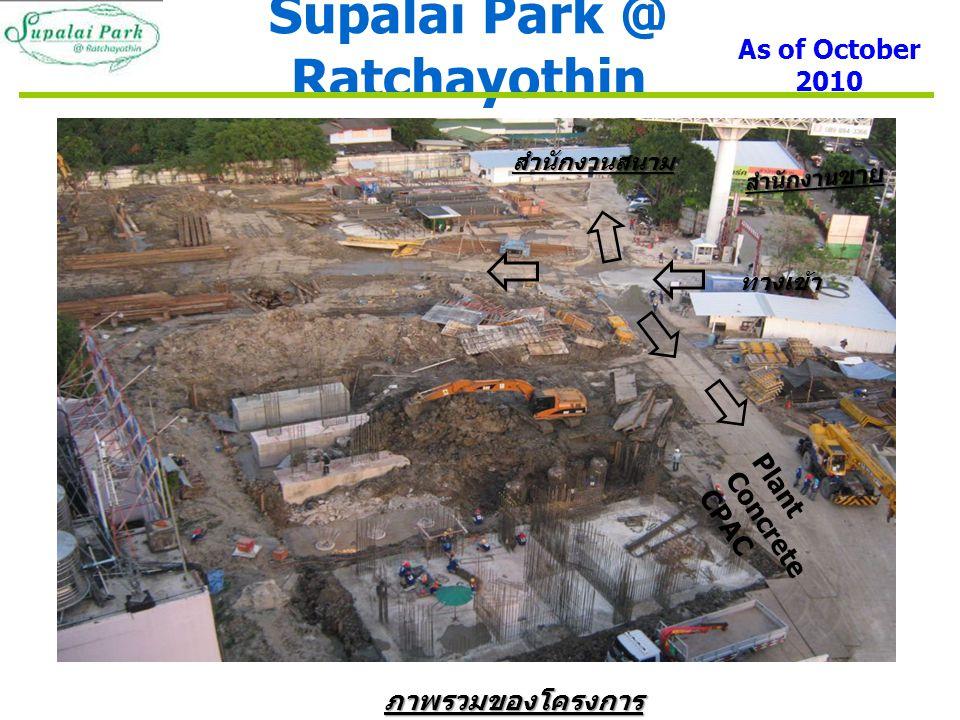 Supalai Park @ Ratchayothin As of October 2010 ทางเข้า สำนักงานสนาม Plant Concrete CPAC ภาพรวมของโครงการ