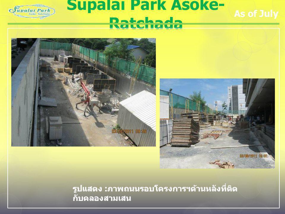 Supalai Park Asoke- Ratchada As of July รูปแสดง : ภาพถนนรอบโครงการฯด้านหลังที่ติด กับคลองสามเสน