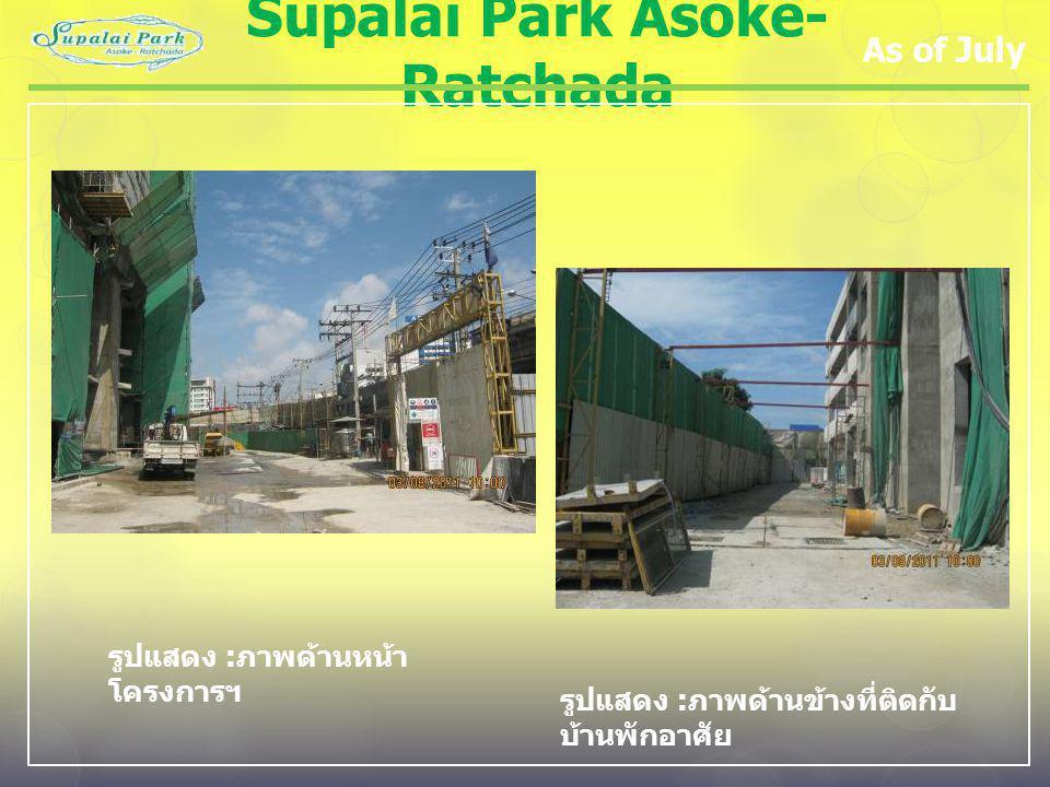 Supalai Park Asoke- Ratchada As of July รูปแสดง : ภาพด้านหน้า โครงการฯ รูปแสดง : ภาพด้านข้างที่ติดกับ บ้านพักอาศัย