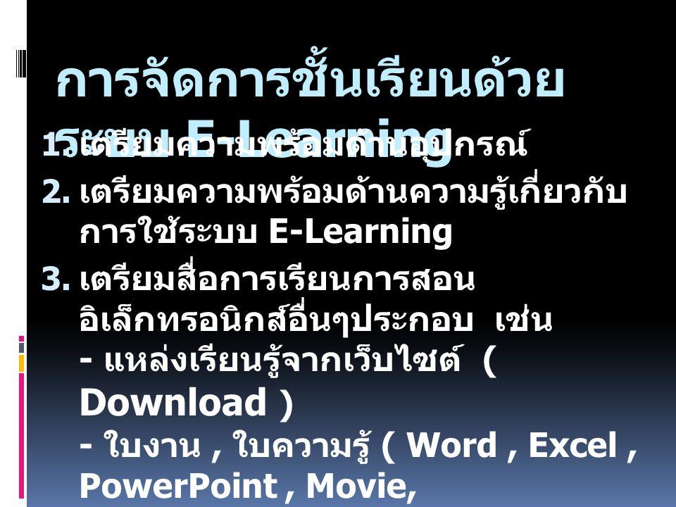การจัดการชั้นเรียนด้วย ระบบ E-Learning  เตรียมความพร้อมด้านอุปกรณ์  เตรียมความพร้อมด้านความรู้เกี่ยวกับ การใช้ระบบ E-Learning  เตรียมสื่อการเรีย