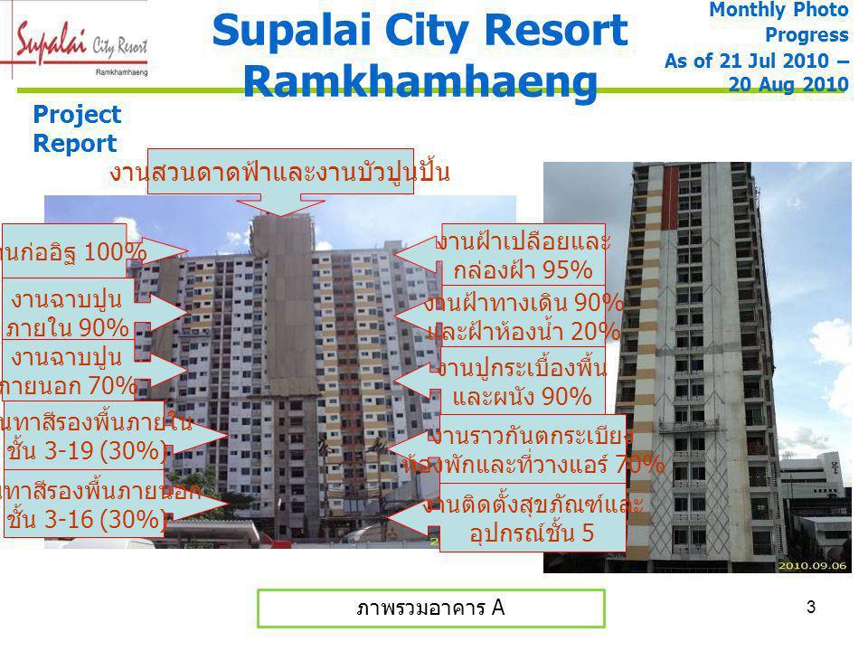 4 อาคาร A งานชั้นดาดฟ้าและงานบัว ปูนปั้น Supalai City Resort Ramkhamhaeng Monthly Photo Progress As of 21 Jul 2010 – 20 Aug 2010 Project Report