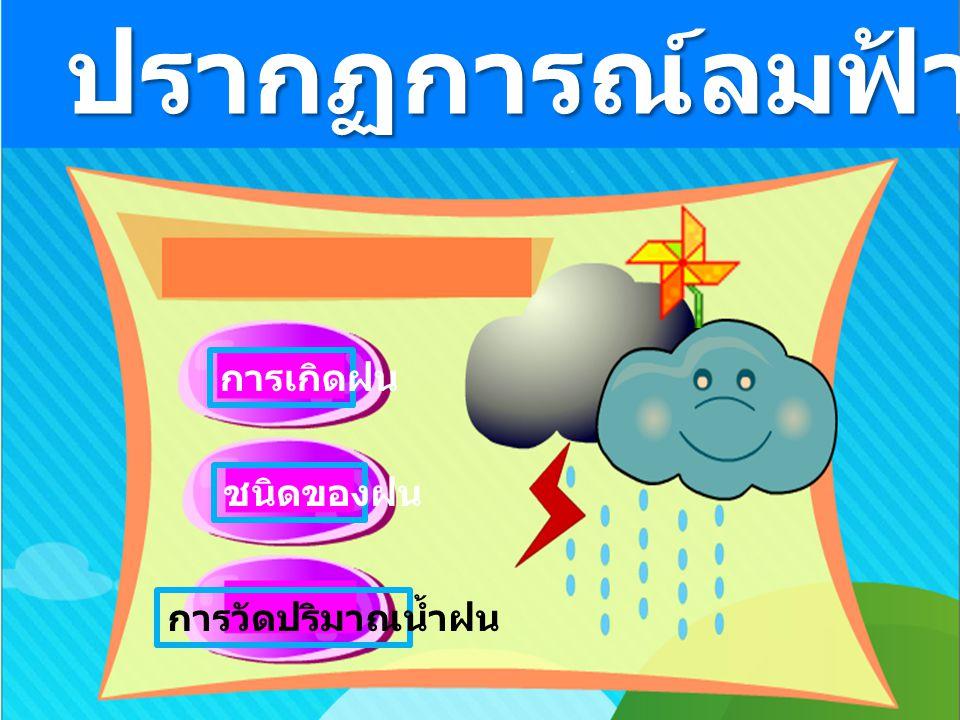 การเกิดฝน ชนิดของฝน การวัดปริมาณน้ำฝน ปรากฏการณ์ลมฟ้าอากาศ