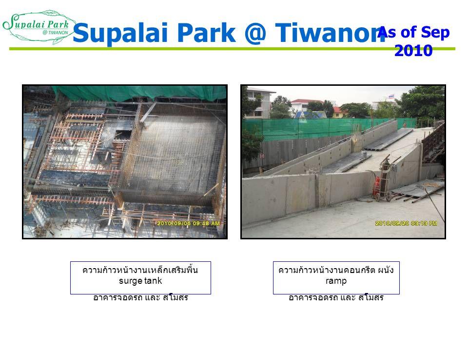 ความก้าวหน้างานเหล็กเสริมพื้น surge tank อาคารจอดรถ และ สโมสร ความก้าวหน้างานคอนกรีต ผนัง ramp อาคารจอดรถ และ สโมสร Supalai Park @ Tiwanon As of Sep 2