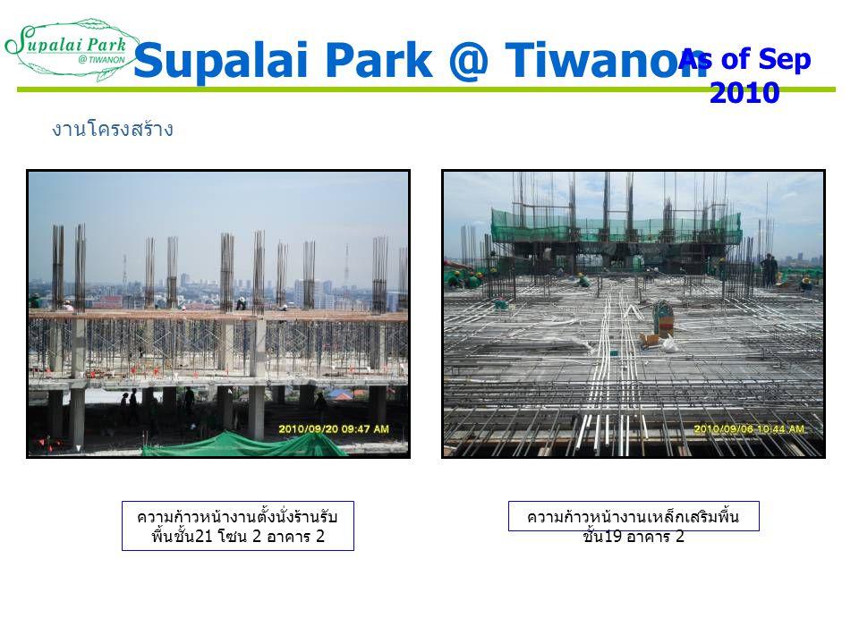 ความก้าวหน้างานตั้งนั่งร้านรับ พื้นชั้น 21 โซน 2 อาคาร 2 งานโครงสร้าง ความก้าวหน้างานเหล็กเสริมพื้น ชั้น 19 อาคาร 2 Supalai Park @ Tiwanon As of Sep 2