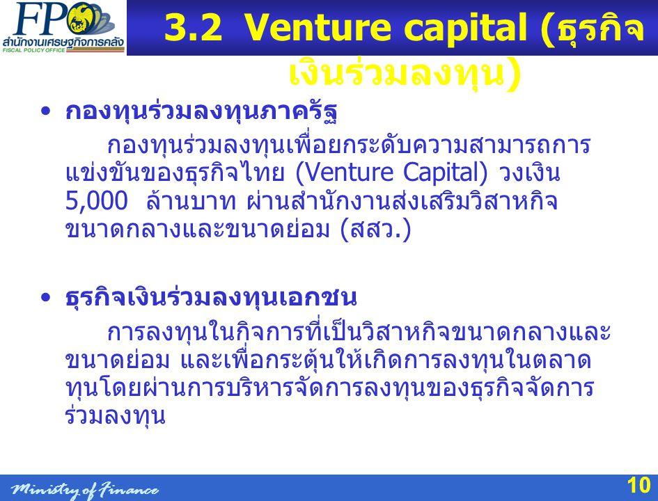 10 3.2 Venture capital ( ธุรกิจ เงินร่วมลงทุน ) กองทุนร่วมลงทุนภาครัฐ กองทุนร่วมลงทุนเพื่อยกระดับความสามารถการ แข่งขันของธุรกิจไทย (Venture Capital) ว