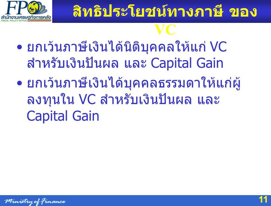 11 สิทธิประโยชน์ทางภาษี ของ VC ยกเว้นภาษีเงินได้นิติบุคคลให้แก่ VC สำหรับเงินปันผล และ Capital Gain ยกเว้นภาษีเงินได้บุคคลธรรมดาให้แก่ผู้ ลงทุนใน VC ส