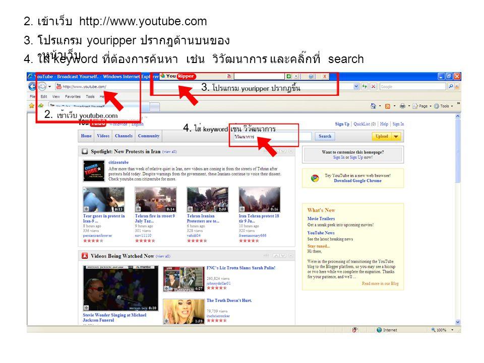 2.เข้าเว็บ http://www.youtube.com 3. โปรแกรม youripper ปรากฎด้านบนของ หน้าเว็บ 4.