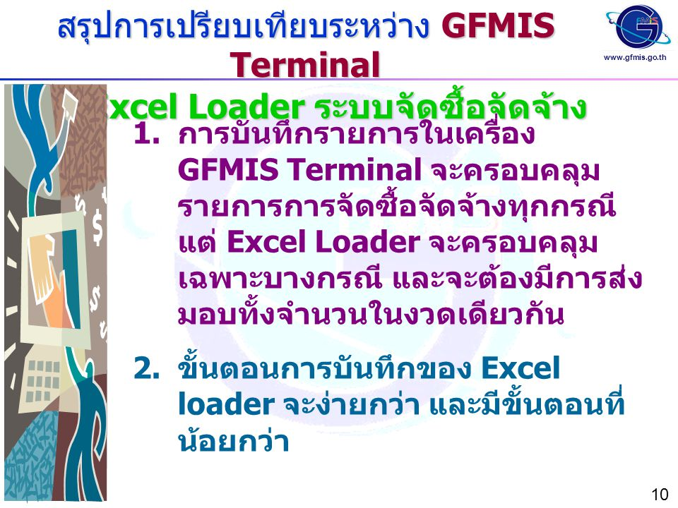 www.gfmis.go.th 10 สรุปการเปรียบเทียบระหว่าง GFMIS Terminal และ Excel Loader ระบบจัดซื้อจัดจ้าง  การบันทึกรายการในเครื่อง GFMIS Terminal จะครอบคลุม