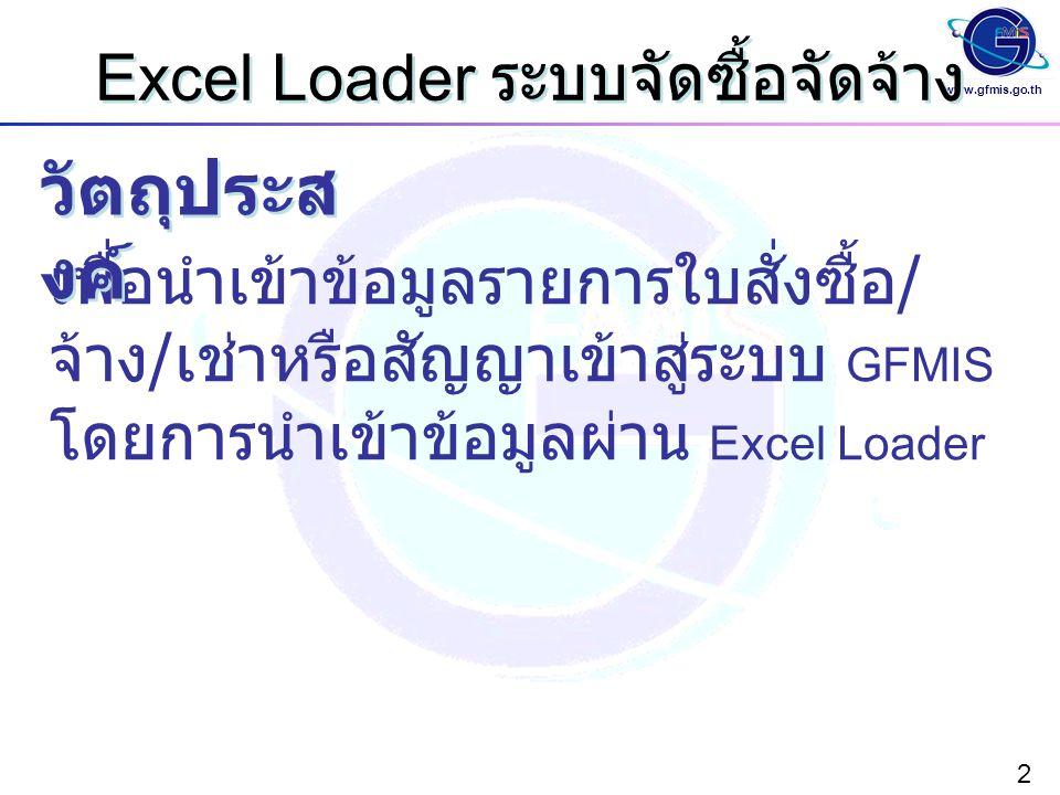 www.gfmis.go.th 2 Excel Loader ระบบจัดซื้อจัดจ้าง เพื่อนำเข้าข้อมูลรายการใบสั่งซื้อ / จ้าง / เช่าหรือสัญญาเข้าสู่ระบบ GFMIS โดยการนำเข้าข้อมูลผ่าน Exc
