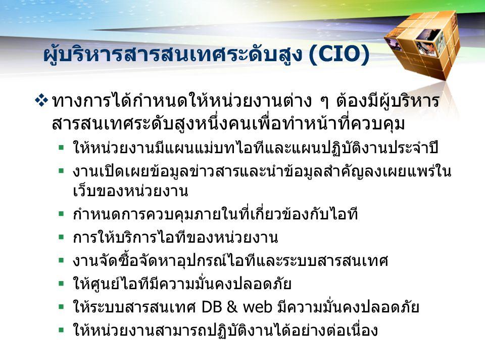 แนวคิดเกี่ยวกับการควบคุม  CIO ควรรู้จักการทำงานด้านต่าง ๆ ของศูนย์ไอที  CIO ต้องรู้ว่าความเสี่ยงและจุดอ่อนในการทำงานของศูนย์ไอที มีอะไรบ้าง  CIO กำหนดการควบคุมในจุดที่เป็นความเสี่ยงอย่างเหมาะสม  CIO กำหนดวิธีการปฏิบัติงานให้อยู่ภายใต้ความควบคุมได้อย่าง มีประสิทธิผล  CIO กำหนดให้มีการวัดผลและบันทึกการทำงานไว้  CIO ต้องร่วมมือกับผู้ตรวจสอบในการวางแผนการตรวจสอบ