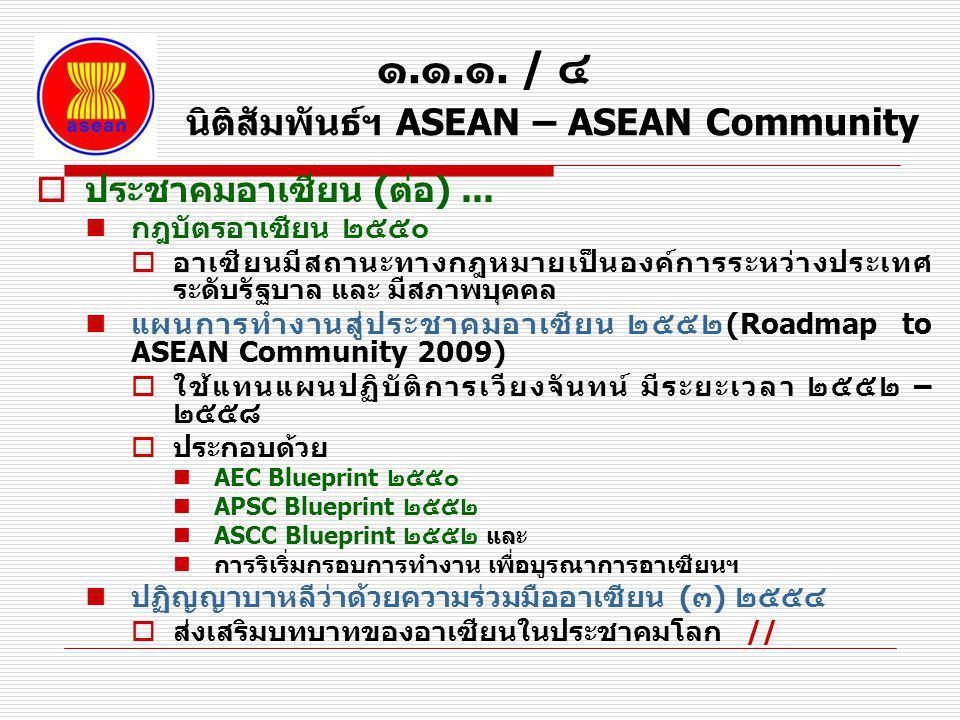 ๑.๑.๑. / ๔ นิติสัมพันธ์ฯ ASEAN – ASEAN Community  ประชาคมอาเซียน (ต่อ)... กฎบัตรอาเซียน ๒๕๕๐  อาเซียนมีสถานะทางกฎหมายเป็นองค์การระหว่างประเทศ ระดับร
