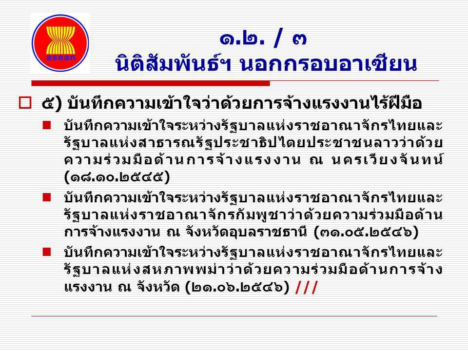 ๑.๒. / ๓ นิติสัมพันธ์ฯ นอกกรอบอาเซียน  ๕) บันทึกความเข้าใจว่าด้วยการจ้างแรงงานไร้ฝีมือ บันทึกความเข้าใจระหว่างรัฐบาลแห่งราชอาณาจักรไทยและ รัฐบาลแห่งส