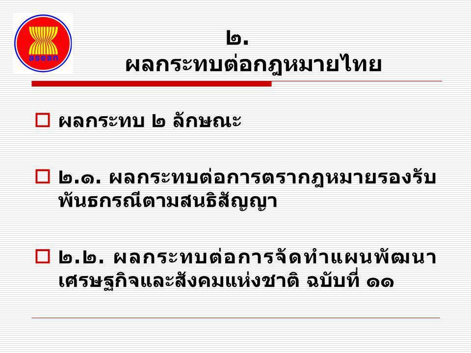 ๒. ผลกระทบต่อกฎหมายไทย  ผลกระทบ ๒ ลักษณะ  ๒.๑. ผลกระทบต่อการตรากฎหมายรองรับ พันธกรณีตามสนธิสัญญา  ๒.๒. ผลกระทบต่อการจัดทำแผนพัฒนา เศรษฐกิจและสังคมแ
