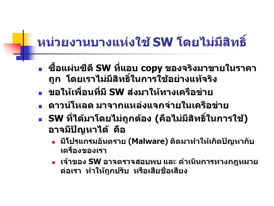 หน่วยงานบางแห่งใช้ SW โดยไม่มีสิทธิ์ ซื้อแผ่นซีดี SW ที่แอบ copy ของจริงมาขายในราคา ถูก โดยเราไม่มีสิทธิ์ในการใช้อย่างแท้จริง ขอให้เพื่อนที่มี SW ส่งมาให้ทางเครือข่าย ดาวน์โหลด มาจากแหล่งแจกจ่ายในเครือข่าย SW ที่ได้มาโดยไม่ถูกต้อง (คือไม่มีสิทธิ์ในการใช้) อาจมีปัญหาได้ คือ มีโปรแกรมอันตราย (Malware) ติดมาทำให้เกิดปัญหากับ เครื่องของเรา เจ้าของ SW อาจตรวจสอบพบ และ ดำเนินการทางกฎหมาย ต่อเรา ทำให้ถูกปรับ หรือเสียชื่อเสียง
